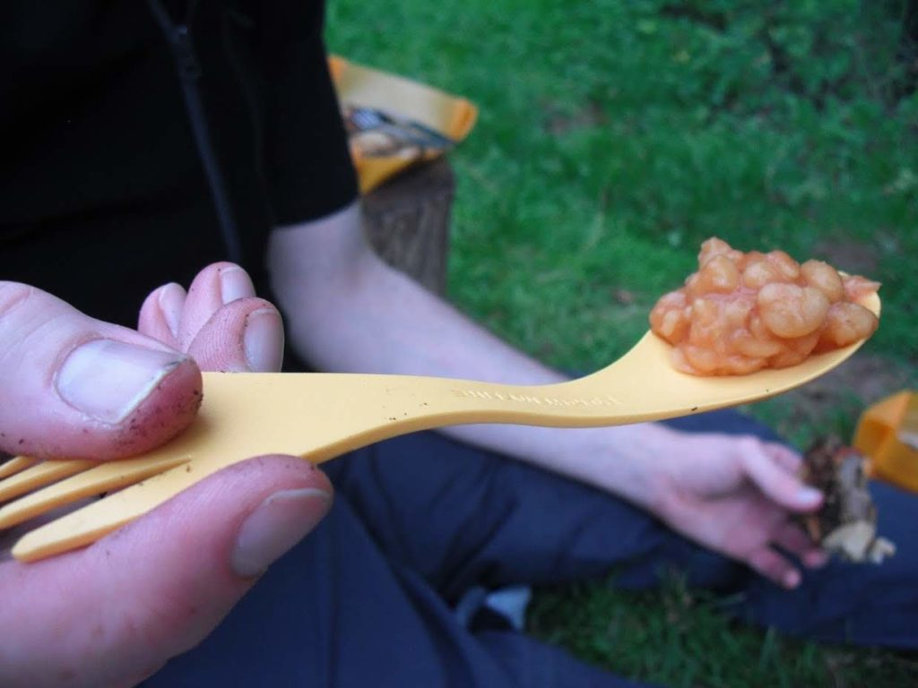 baked beans on a spoon