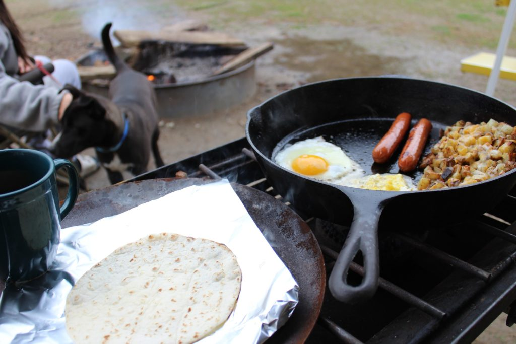You can't beat a camping breakfast fry up over a campfire!